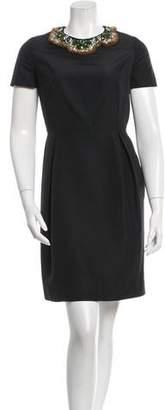 Isaac Mizrahi Embellished Silk Dress
