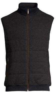 Bugatti Men's Knit Zip-Up Vest - Brown - Size Medium