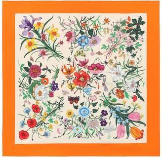 Gucci Floral-printed silk twill scarf