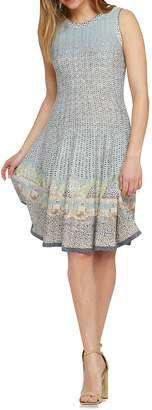Nic+Zoe Printed Cotton Blend Fit--Flare Dress