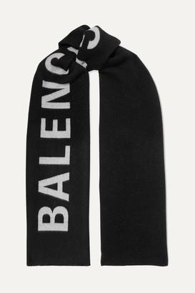 Balenciaga Intarsia Wool Scarf - Black