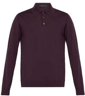 Prada Long Sleeved Wool Polo Shirt - Mens - Purple