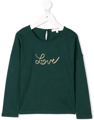 Chloé Kids love embroidered T-shirt