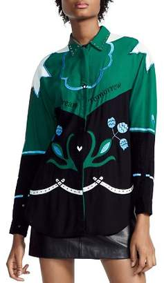 Maje Cloevi Embroidered Color-Blocked Shirt