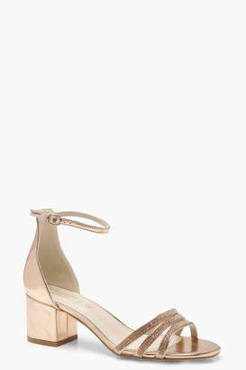 boohoo Diamante Strap Low Heel 2 Parts