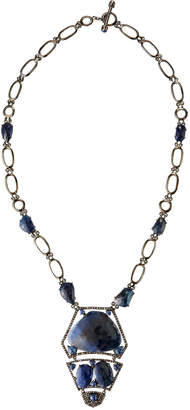 Bavna Blue Sapphire & Diamond Tiered Pendant Necklace
