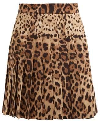 a90131c2e4a9 Dolce & Gabbana Leopard Print Wool Blend Pleated Skirt - Womens - Leopard