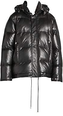 Saint Laurent Women's Leather Down Puffer Jacket