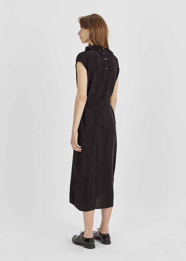 Atlantique Ascoli Cupro Ruffle Collar Dress Black Cupro Size: 2