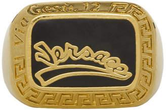 Versace Gold and Black Varsity Ring