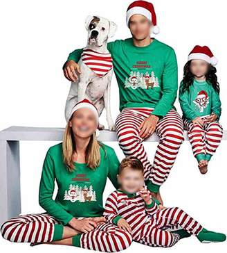 TUSFTAY Christmas Family Matching Pajamas Set Holiday PJs Striped Sleepwear (XL, )
