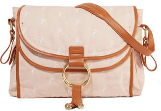 Chloé Kids - Leather-trimmed Embroidered Canvas Diaper Bag - Pink