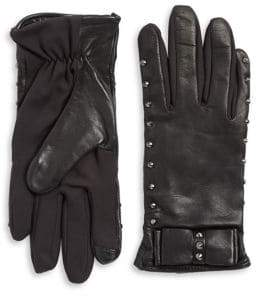 Lord & Taylor Touchscreen Studded Leather Gloves