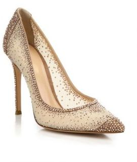 Gianvito Rossi Mesh & Crystal Point Toe Pumps $2,395 thestylecure.com