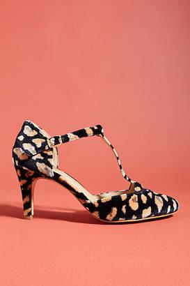 Anthropologie Abstract Velvet T-Strap Heels