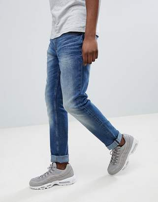 Blend of America Jet Slim Fit Distressed Jeans Dusty Blue