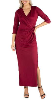 24seven Comfort Apparel Women Ankle Length Side Slit Formal Maxi Dress