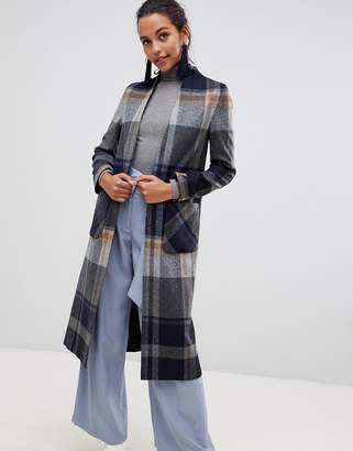 Helene Berman Windowpane Check Swing Coat in Wool Blend