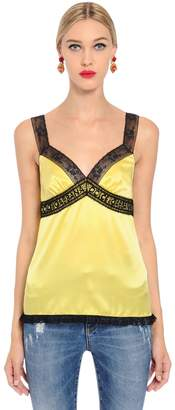 Dolce & Gabbana Silk Satin Lingerie Top With Logo Lace