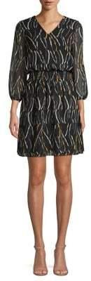 Donna Karan Bubble-Sleeve Shirred Blouson Dress