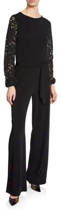 MICHAEL Michael Kors Jewel-Neck Lace-Sleeve Jumpsuit with Belted Waist