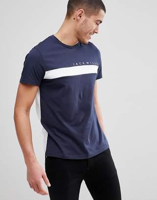 Jack Wills Bramshill Color Block T-Shirt in Navy