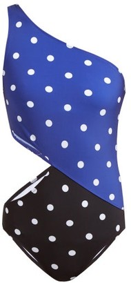 Araks Elmar Polk Dot Print Cut Out Swimsuit - Womens - Black Multi