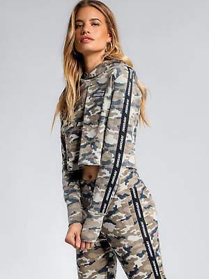 New Nena and Pasadena Street Racer Cropped Hoodie In Camouflage Womens Hoodies