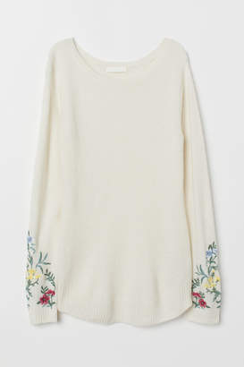 H&M MAMA Fine-knit Sweater - White