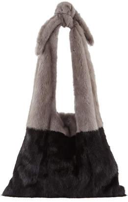 Simonetta Ravizza Furrissima Colorblock Mink Fur Sac Tote Bag, Black/Gray