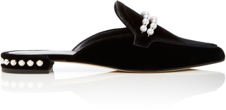 Stuart Weitzman Embellished Suede Backless Loafers $455 thestylecure.com