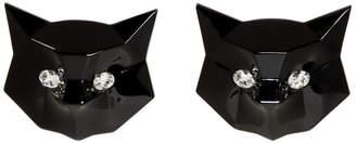 Miu Miu Black Crystal Cat Earrings