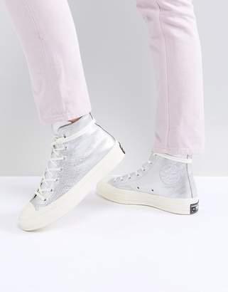 Converse Chuck '70 metallic hi trainers in silver