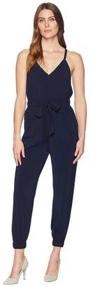Vince Camuto Crepe Strappy Jumpsuit with Elastic Legs and Tie Waist Women's Jumpsuit & Rompers One Piece