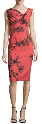 Black Halo Sleeveless Floral Stretch Crepe Sheath Dress, Red $375 thestylecure.com