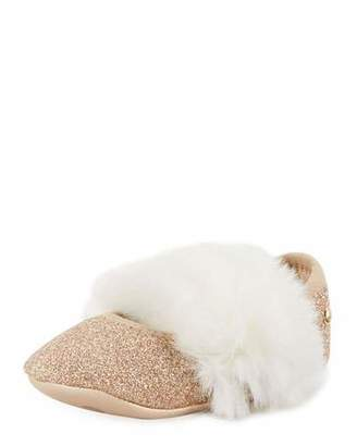 UGG Fluff Glitter Mary Jane Flats w/ Faux Fur Vamp, Baby