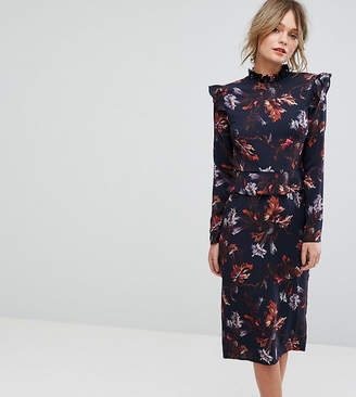 Hope And Ivy Hope & Ivy Long Sleeve Floral Printed Dress With Frill Detail