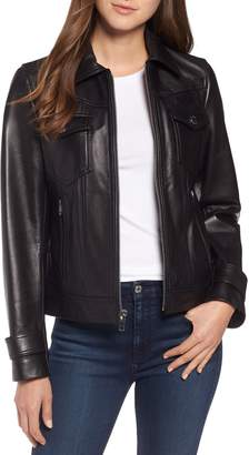 Tahari Esther Leather Trucker Jacket