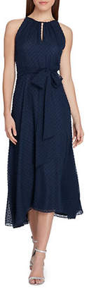 Tahari Sleeveless Keyhole Chiffon Dress