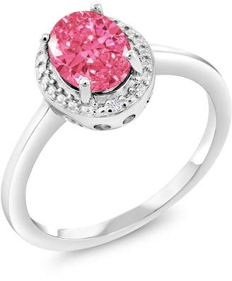 Swarovski Gem Stone King 1.22 Ct 925 Sterling Silver Ring Made With Oval Fancy Pink Zirconia