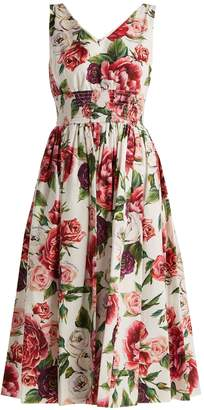 Dolce & Gabbana Rose and peony-print cotton poplin dress