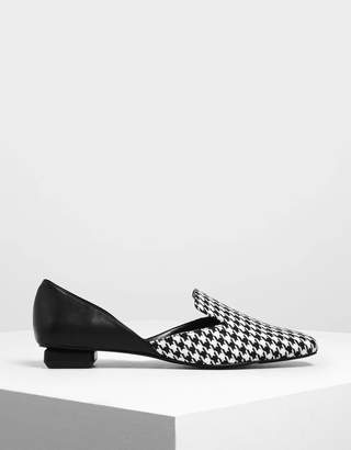 Charles & Keith Houndstooth Print Woven Fabric D'Orsay Loafers