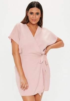Missguided Plus Size Pink Kimono Sleeve Wrap Front Dress, Pink