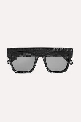 Stella McCartney Crystal-embellished D-frame Glittered Acetate Sunglasses - Black