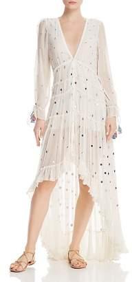 Rococo Sand Embellished Plissé High/Low Dress