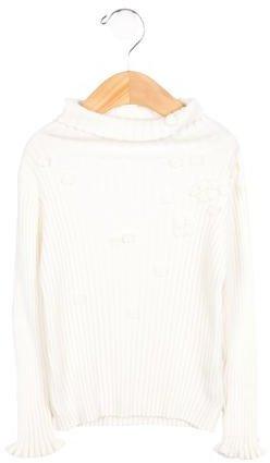 Tartine et Chocolat Girls' Embellished Rib Knit Sweater
