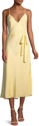 Frame Belted Satin Midi-Length Slip Cocktail Dress