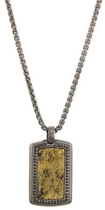 John Hardy Men's Batu Classic Chain Silver Dog Tag Pendant with Pyrite $1,100 thestylecure.com