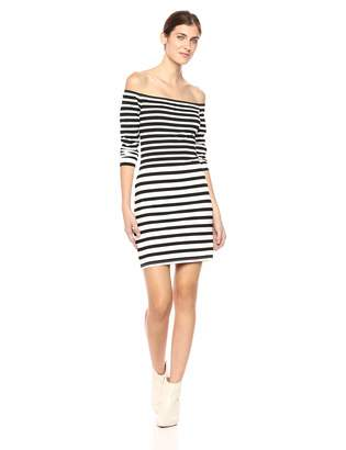 Cupcakes And Cashmere Women's Fira Striped Off The Shoulder Bodycon Dress