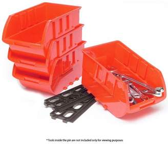 AllTopBargains 4 Large Stackable Plastic Storage Bins Container Organizer Parts Tray Wall Mount